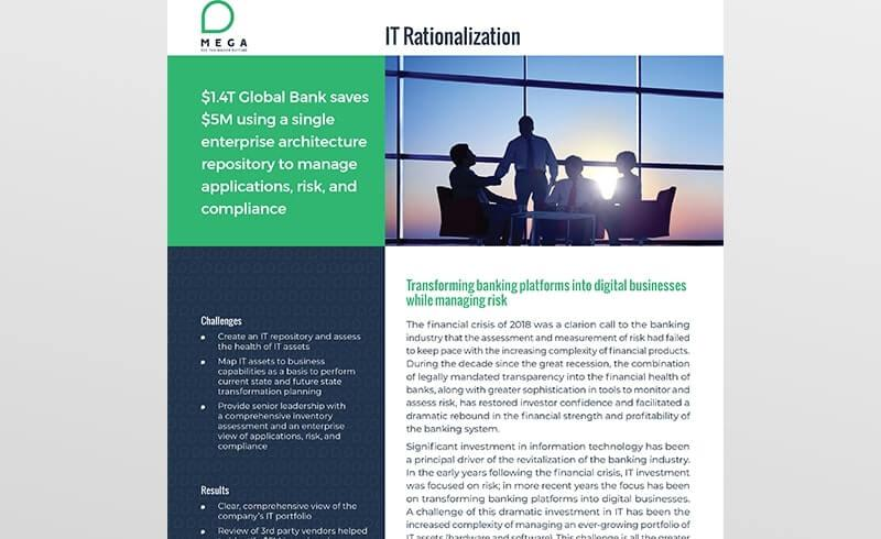 Global Bank uses single EA repository to manage applications, risk, and compliance