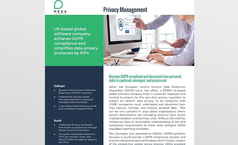 Software company achieves GDPR compliance and simplifies data privacy processes by 80%