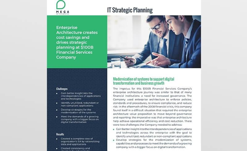Enterprise Architecture creates cost savings and drives strategic planning at $100B Financial Services Company