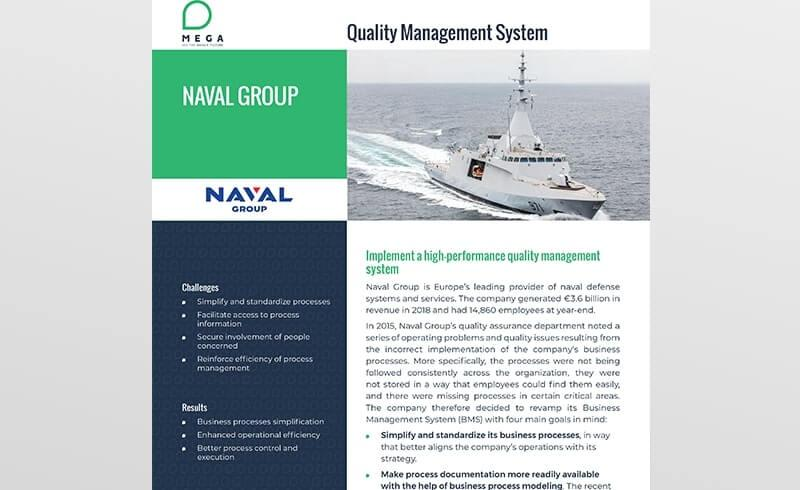 Naval Group implements a high-performance quality management system