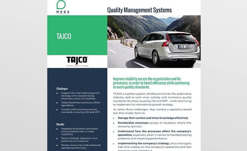 Tajco: Improve visibility to boost efficiency