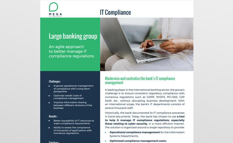 Large banking group: an agile approach to better manage IT compliance regulations