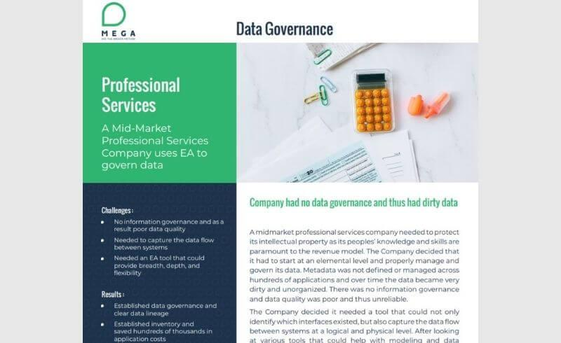 A Mid-Market Professional Services Company uses EA to govern data