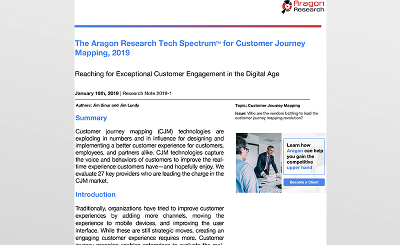 The Aragon Research Tech Spectrum™ for Customer Journey Mapping, 2019